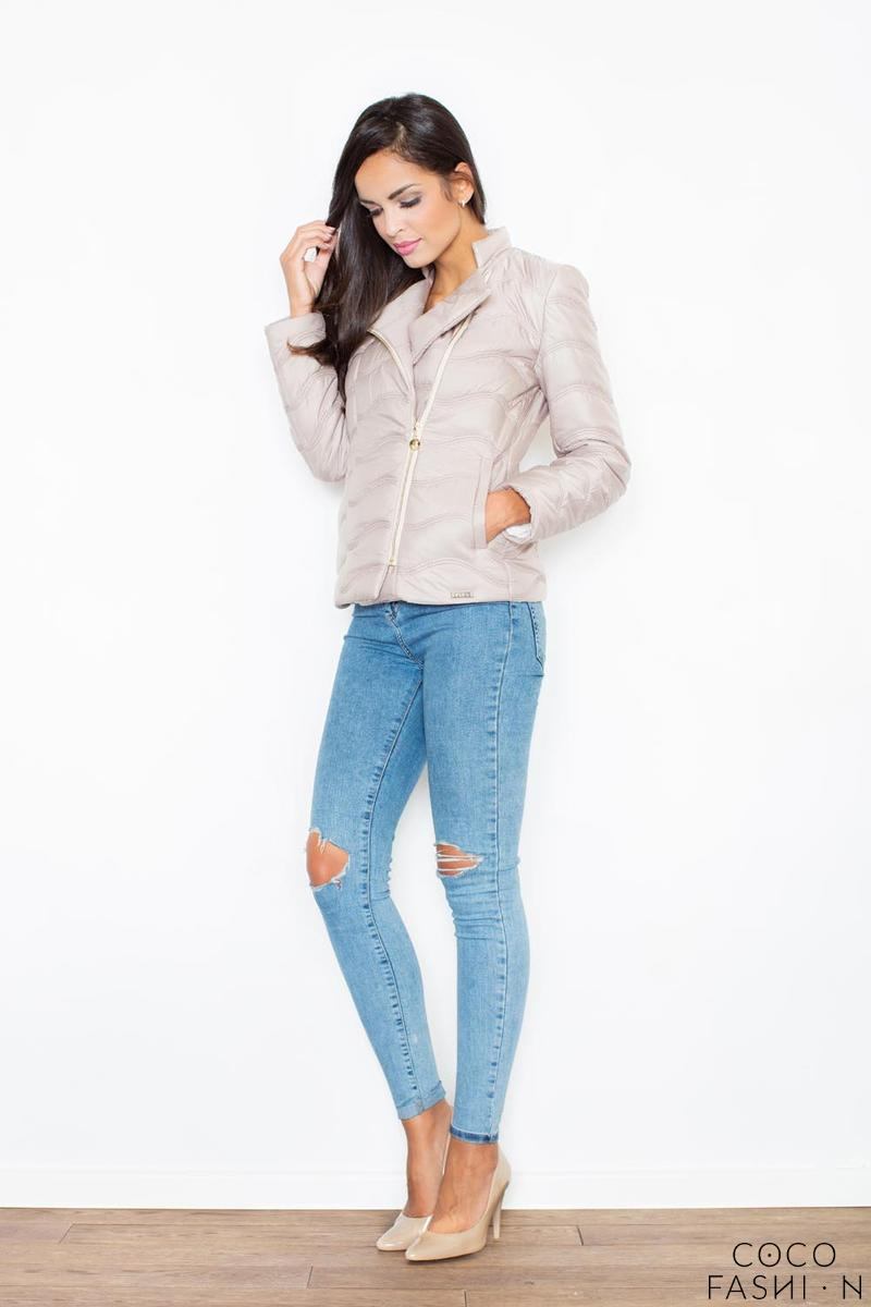 Beige Short Light Padding Asymetrical Zip Jacket