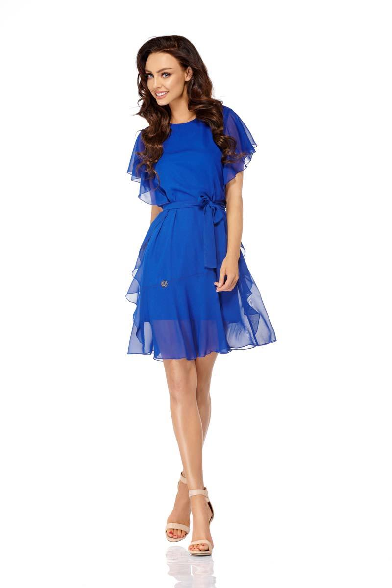 Cornflower Airy Dress with Frills Tied Stripe