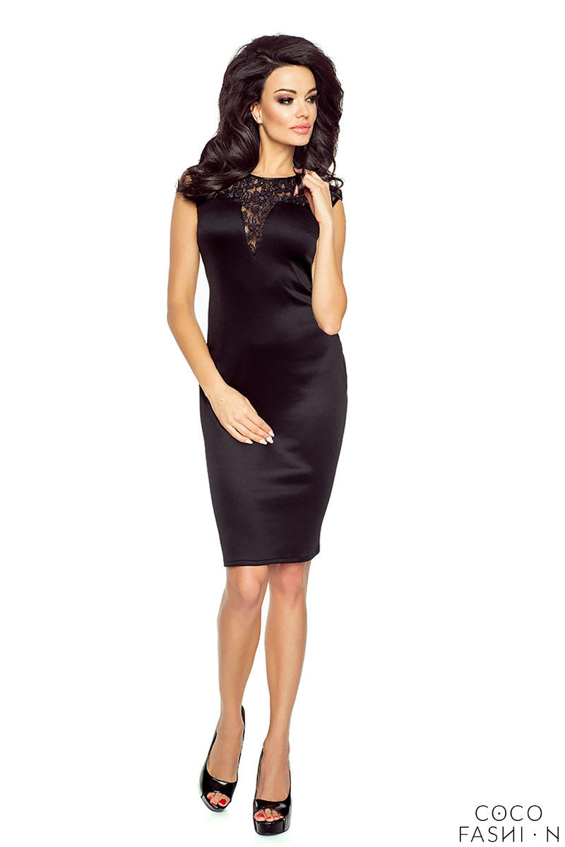 Black Evening Bodycon Dress with Lace