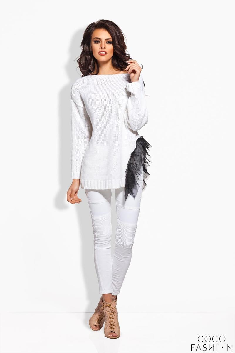 White Long Sweater with Gauze Frill