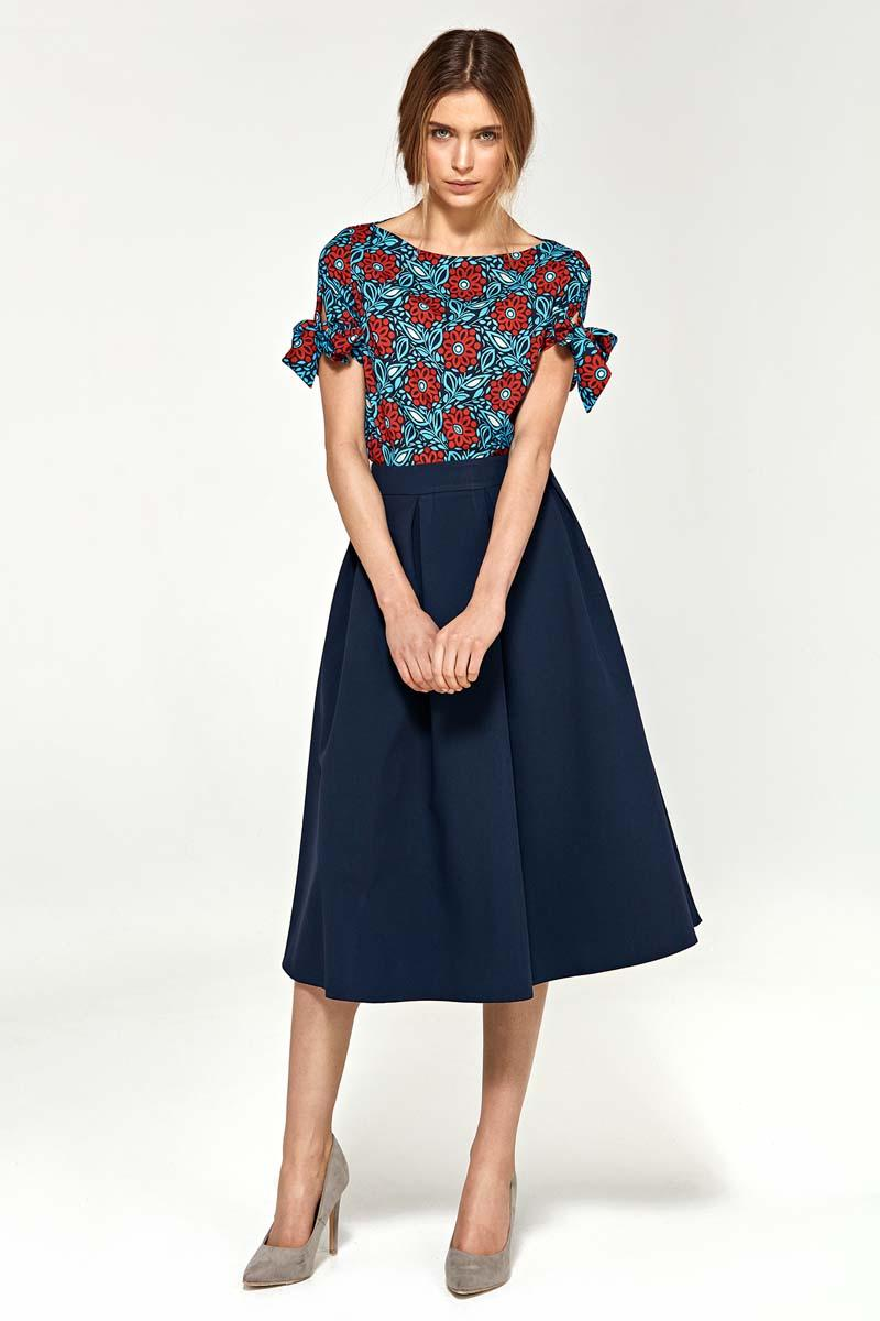 Flowers Pattern Short Sleeves Blouse with Bows on the Sleeves