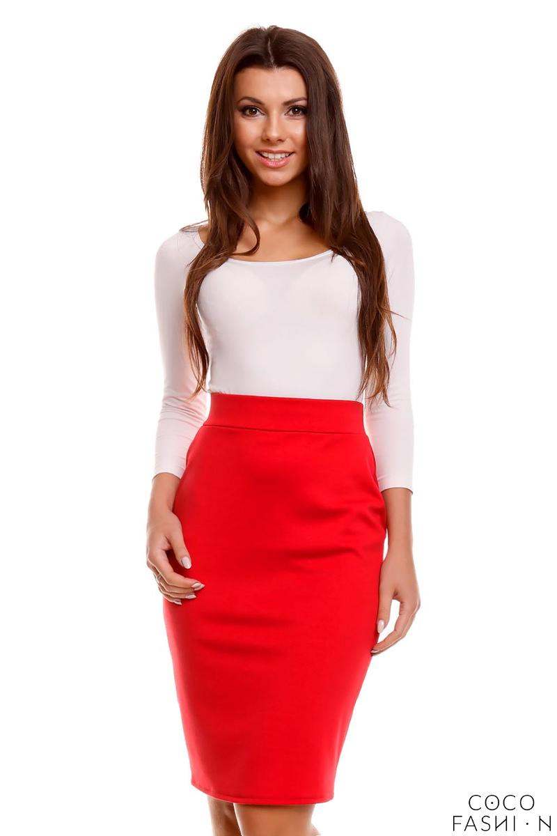 Red Pencil Cut Office Style Skirt