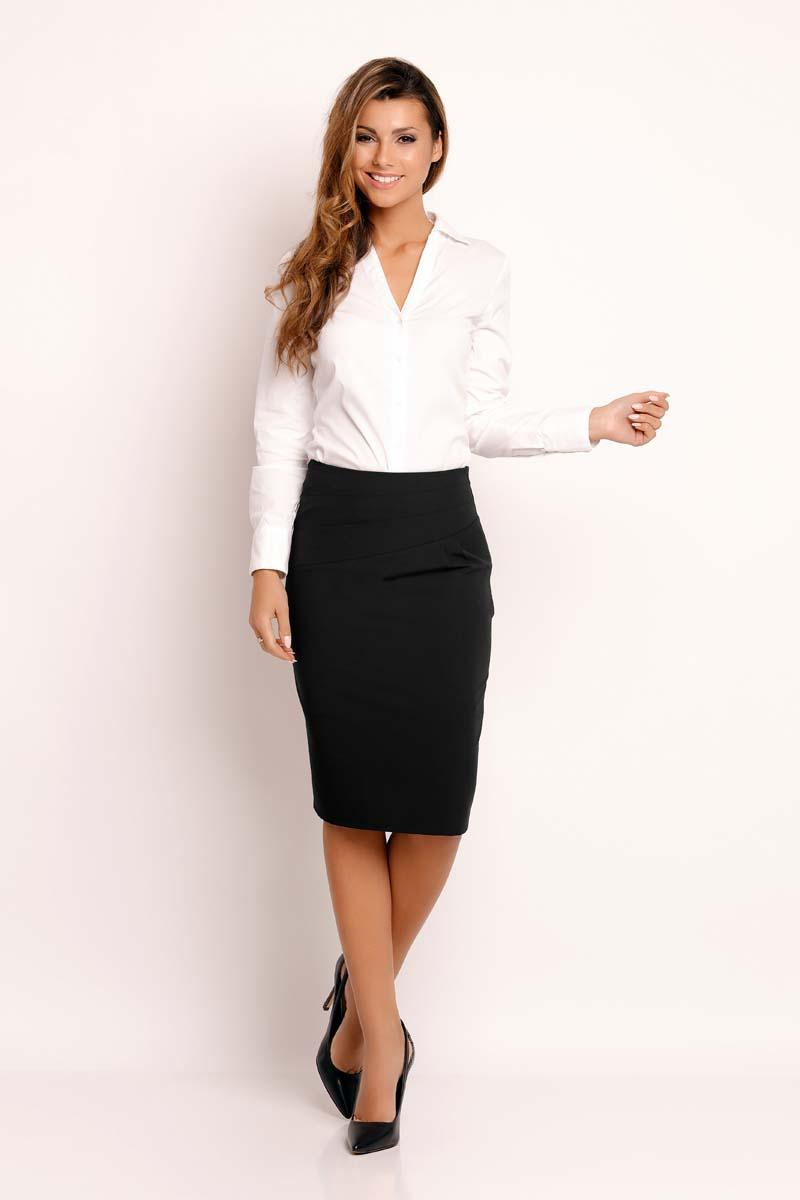 Black Slim Fit Knee Length Skirt