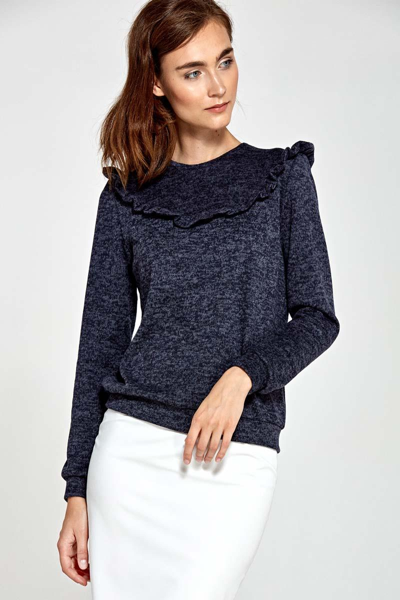 Dark Blue Light Sweater with Frill