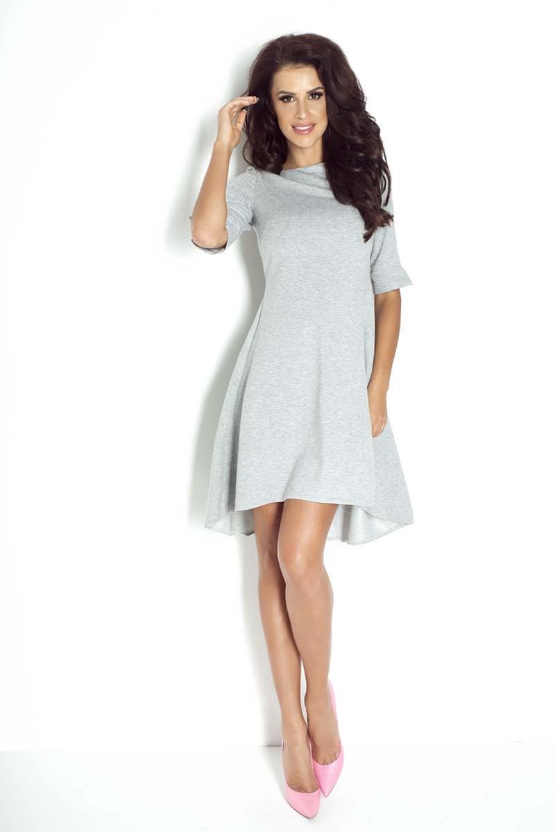 grey-dipped-hem-casual-dress