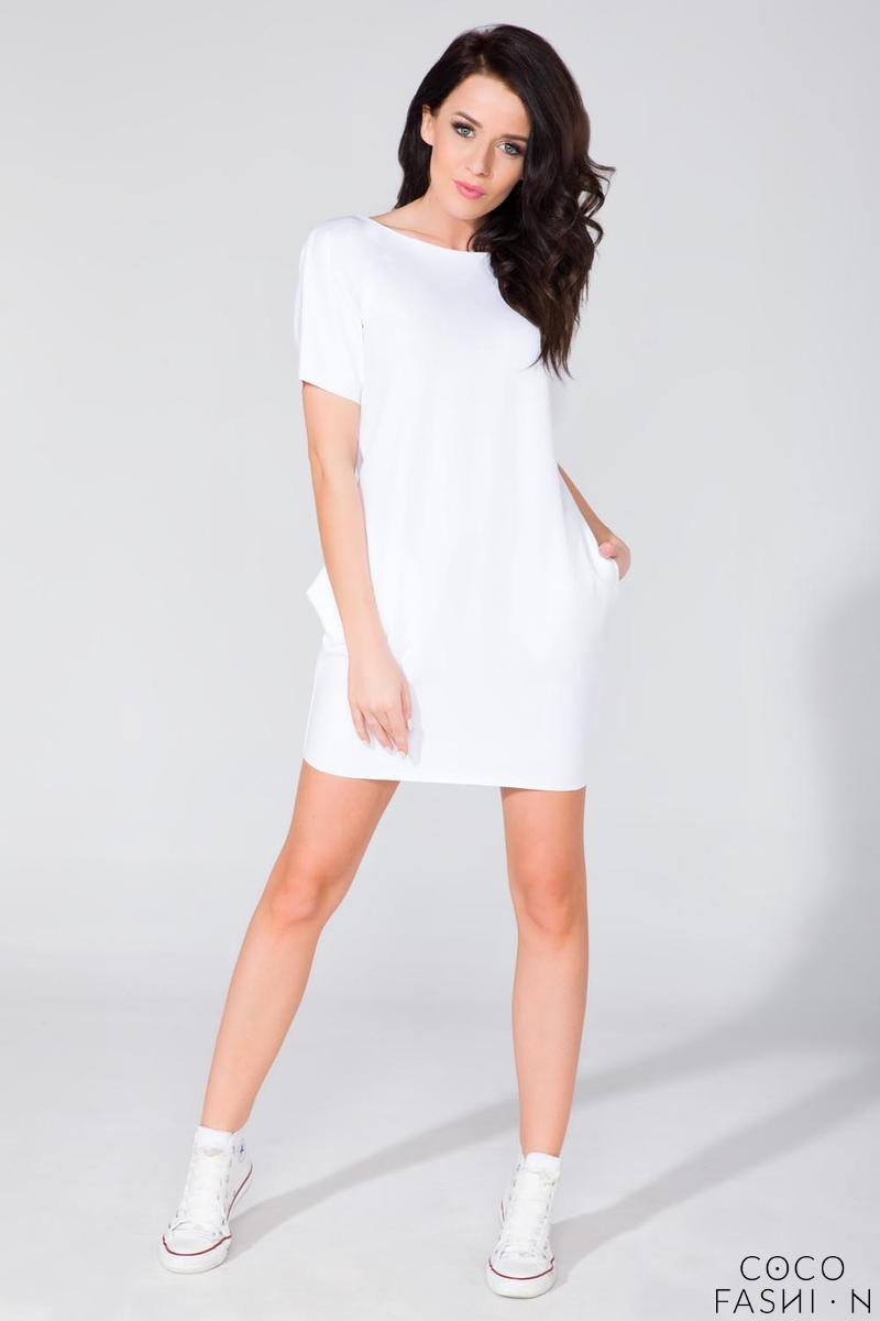 White Simple Mini Dress with Side Pockets
