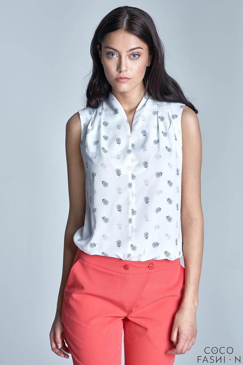 Ecru Delicate Pattern Sleeveless Summer Shirt