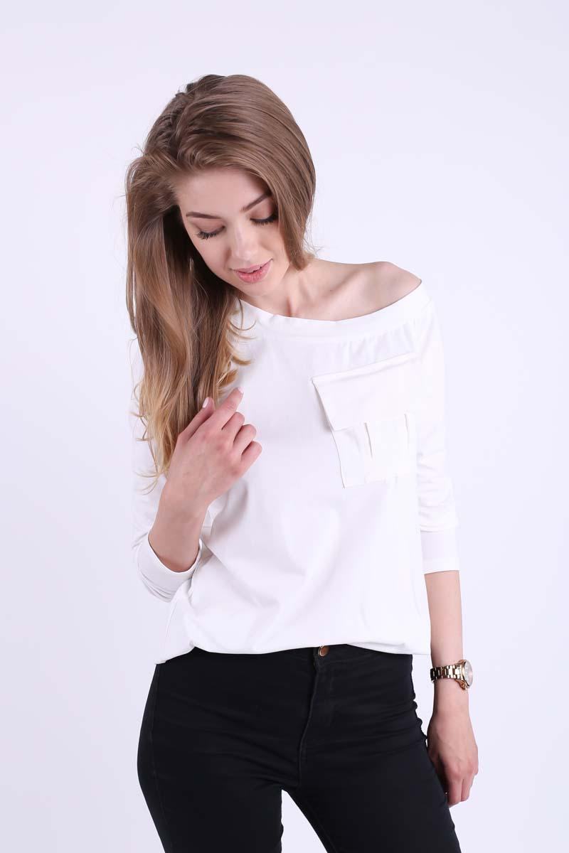 Ecru Casual Blouse with Overlay Pocket