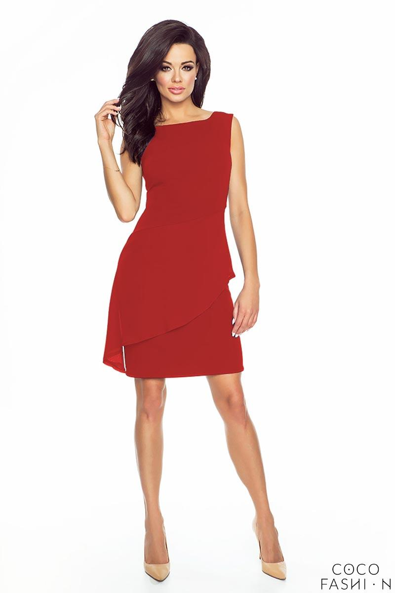 Red Elegant Chiffon Peplum Coctail Dress