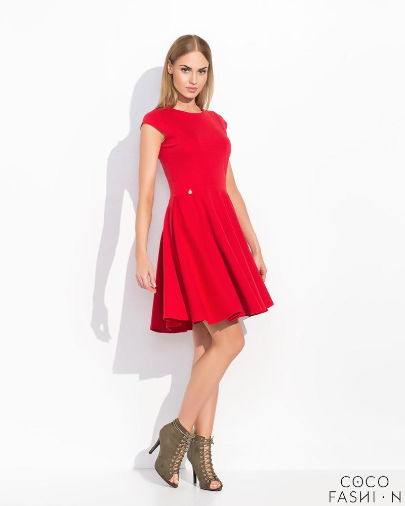 Red Flared Light Pleats Coctail Dress