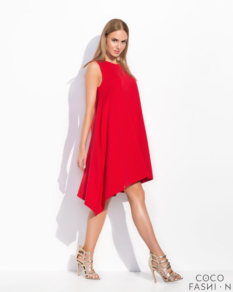 Red Sleeveless Asymetrical Cut Chic Dress