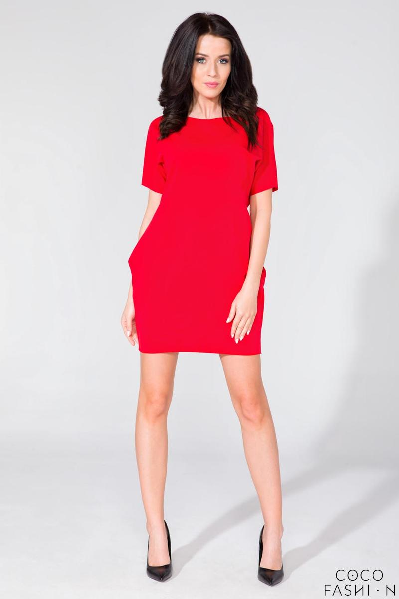 Red Simple Mini Dress with Side Pockets