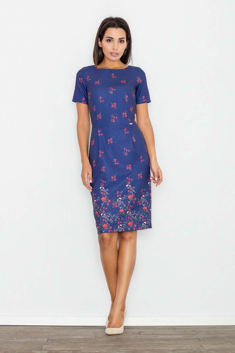 Blue Floral Pattern Coctail Pencil  Dress