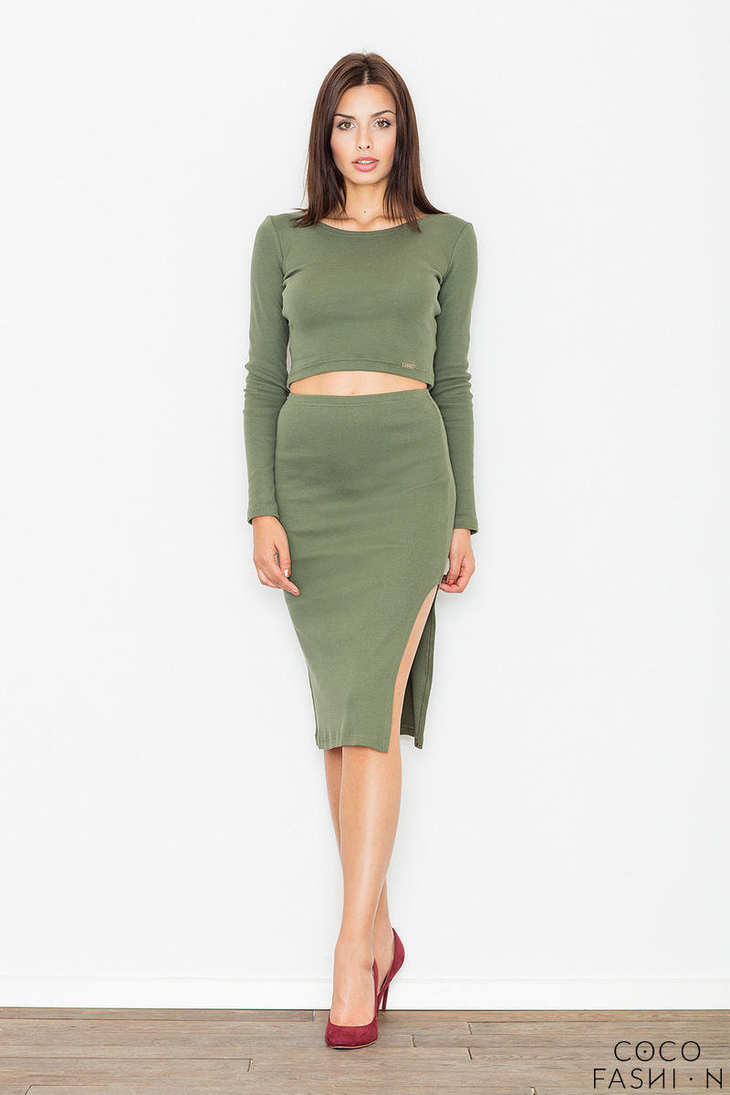 Green Two Pieces Set Short Top+Pencil Skirt
