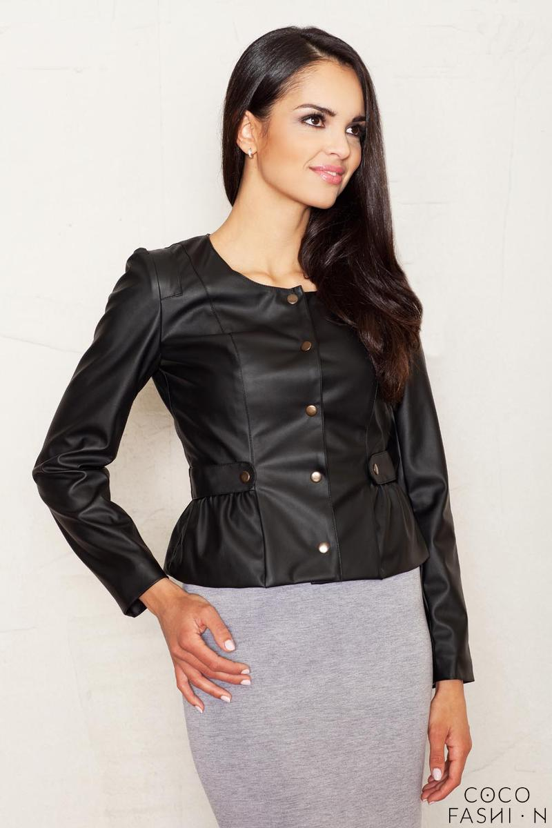 Crop Leather Black Jacket with Snap Button Closure