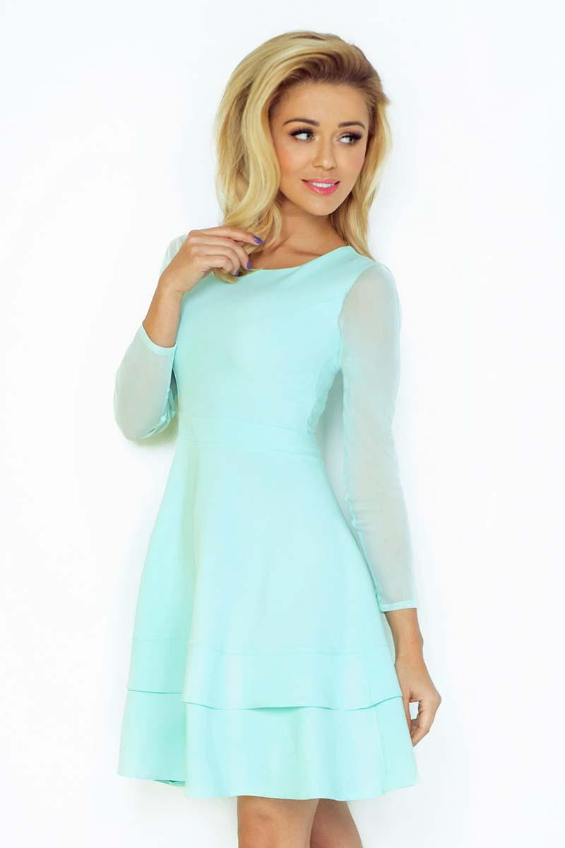 Mint Green Coctail Dress with Transparent Sleeves