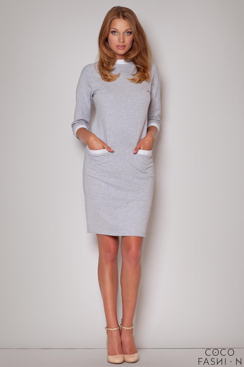 Flecked Seam Shift Grey Dress with Side Welt Pockets