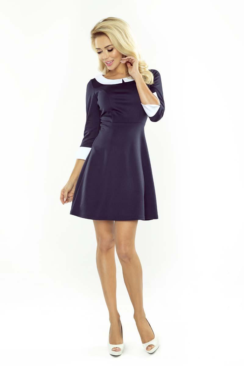Navy Blue Flared Dolly Style Dress with Contarsting Collar