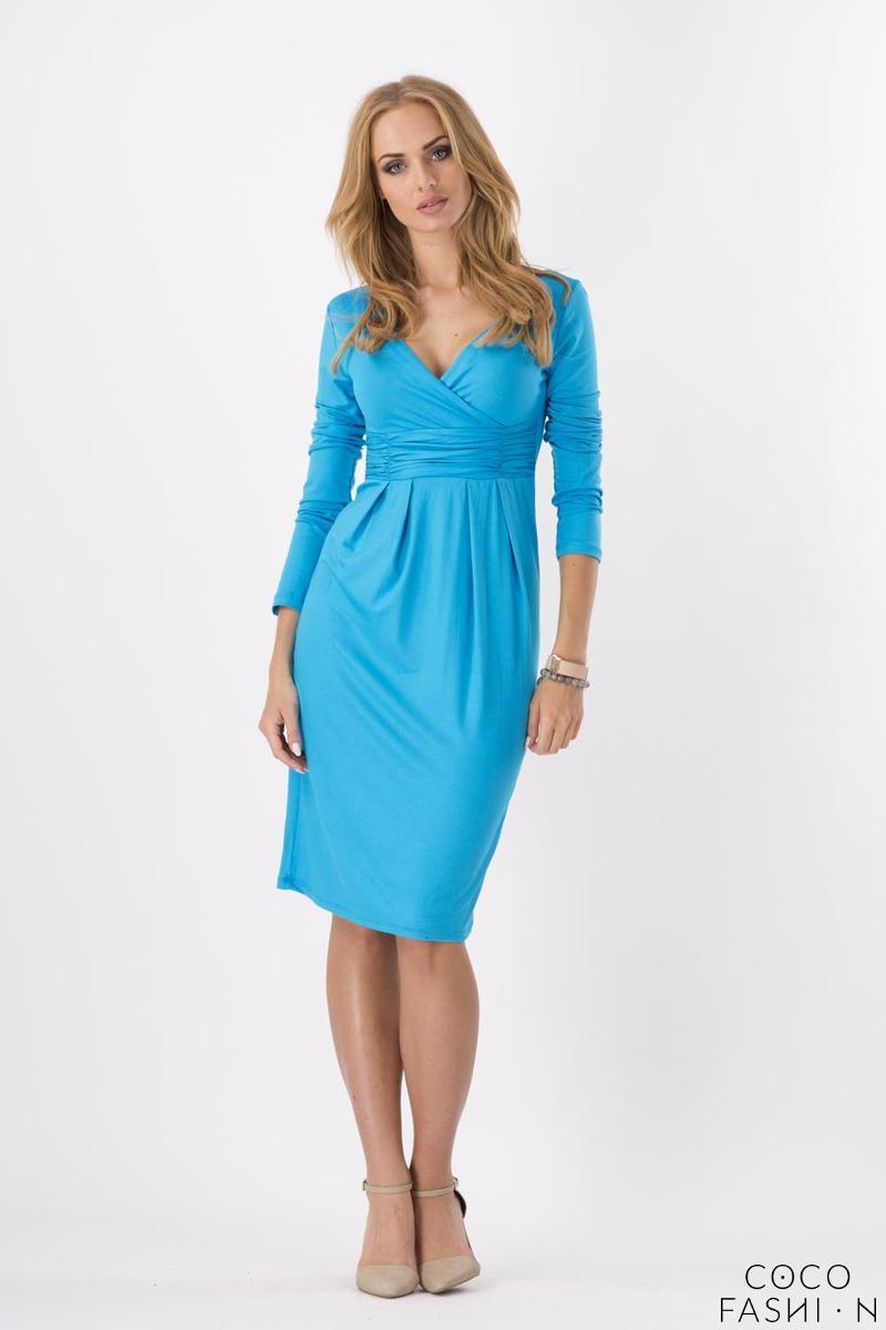 sky-blue-elegant-v-neck-dress