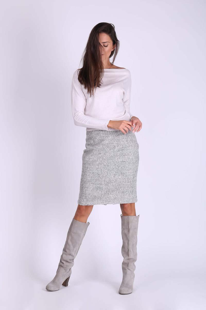 Gray Pencil Midi Skirt from Buckle Fabric