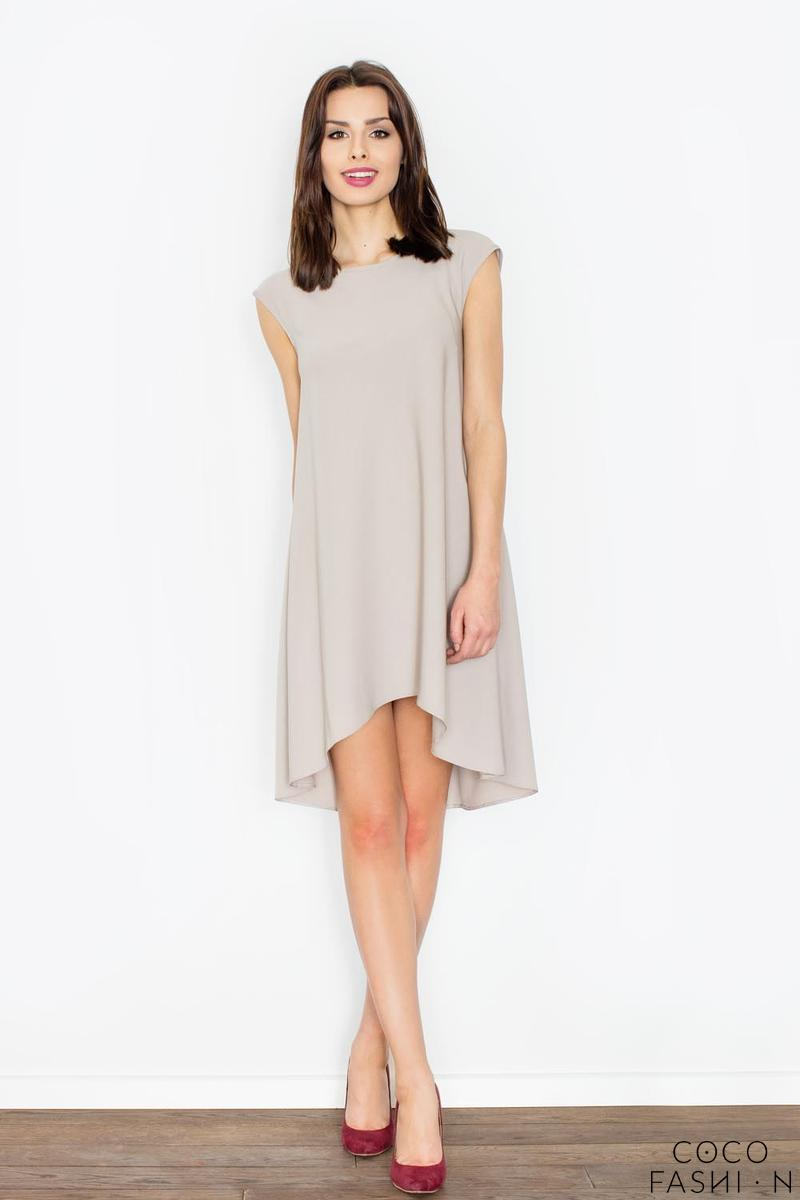 Beige Asymmetric Hem Romantic Swing Dress