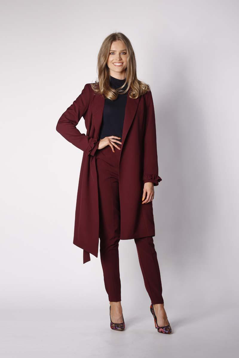 Dark Red Elegant Coat with a frill on the sleeve