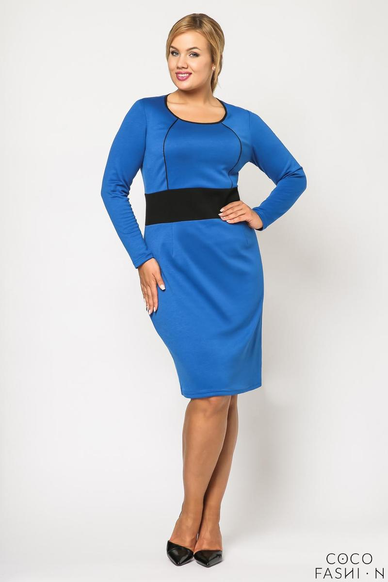 blue-long-sleeves-contrasting-waist-dress-plus-size