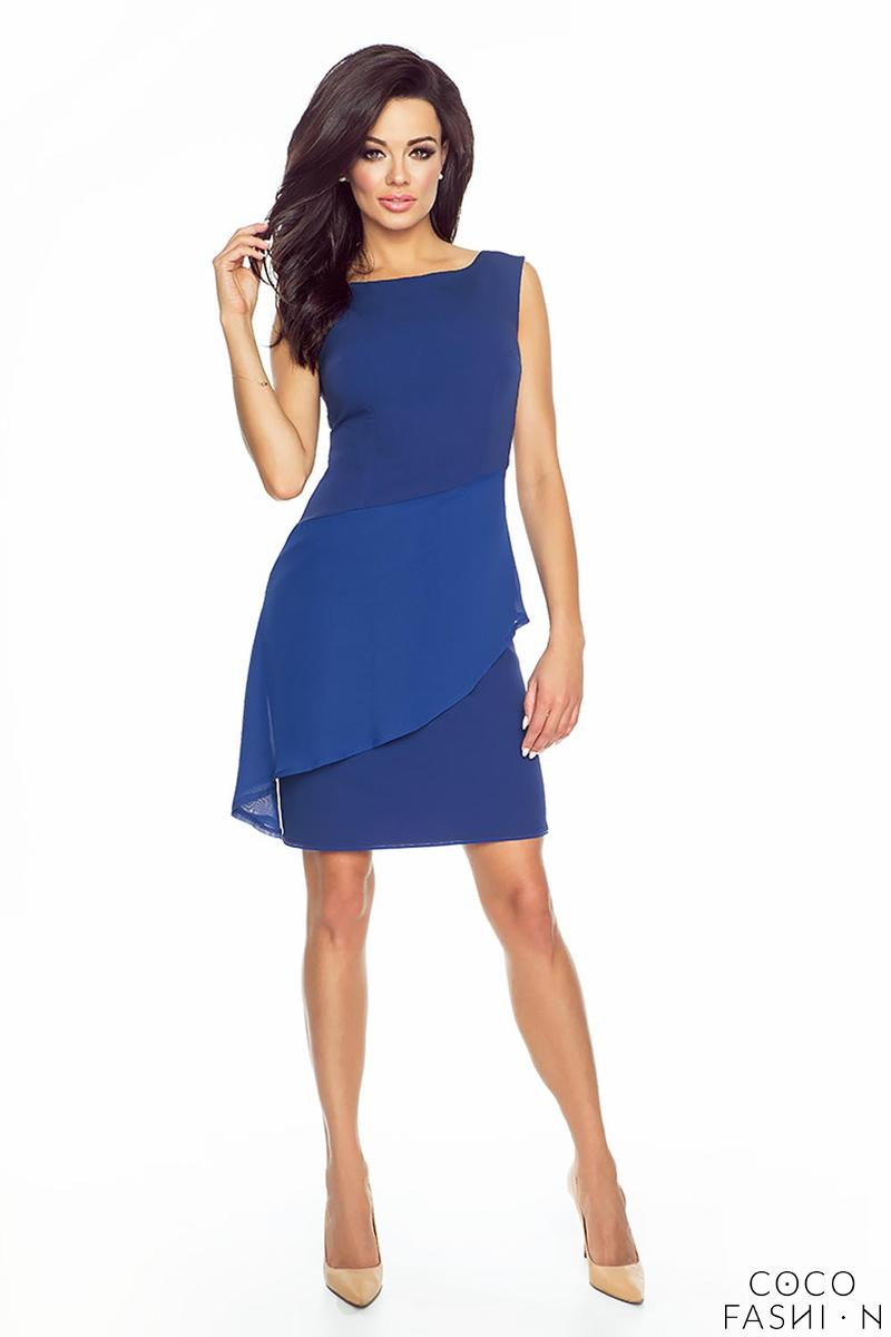 Blue Coctail Dress with Chiffon Frill