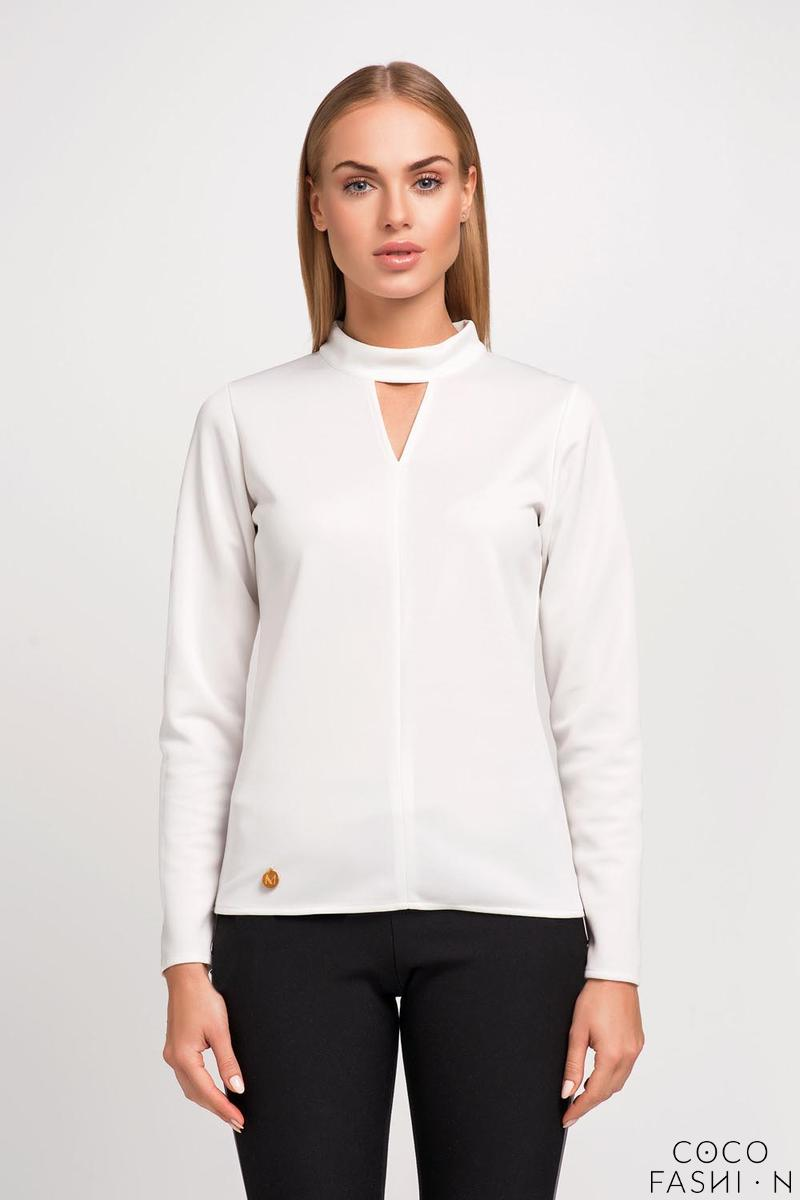 Ecru Blouse with Stand-up Collar and Triangle Cut Out