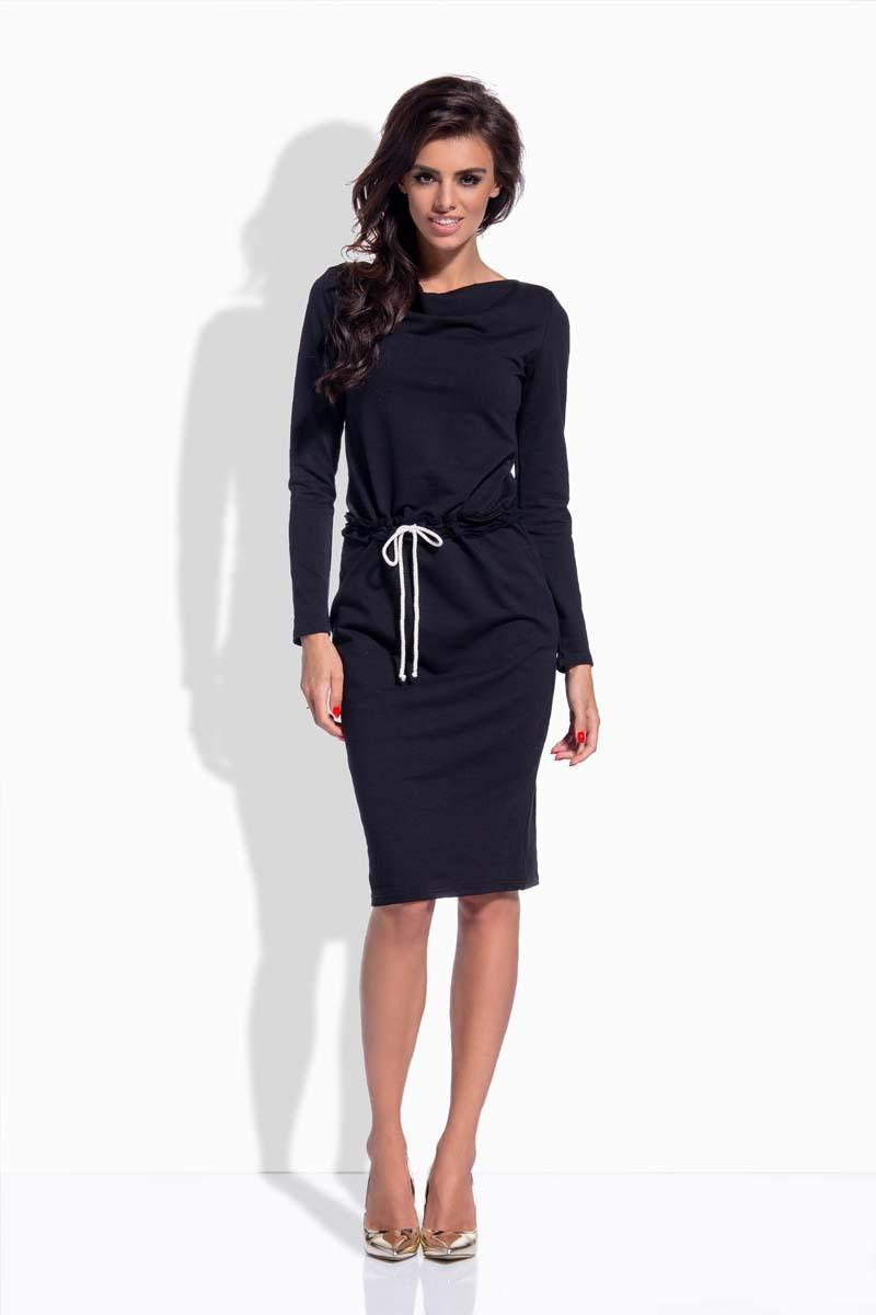 Black Drawstring Waist Midi Dress