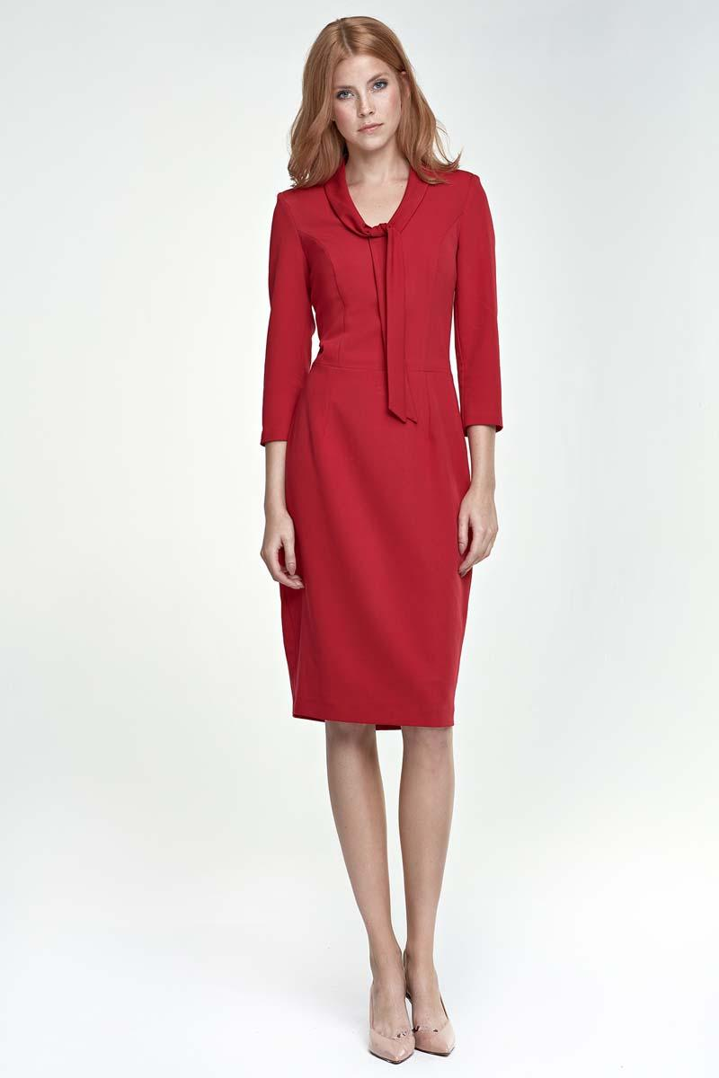 red-elegant-etui-dress-with-self-tie-bow