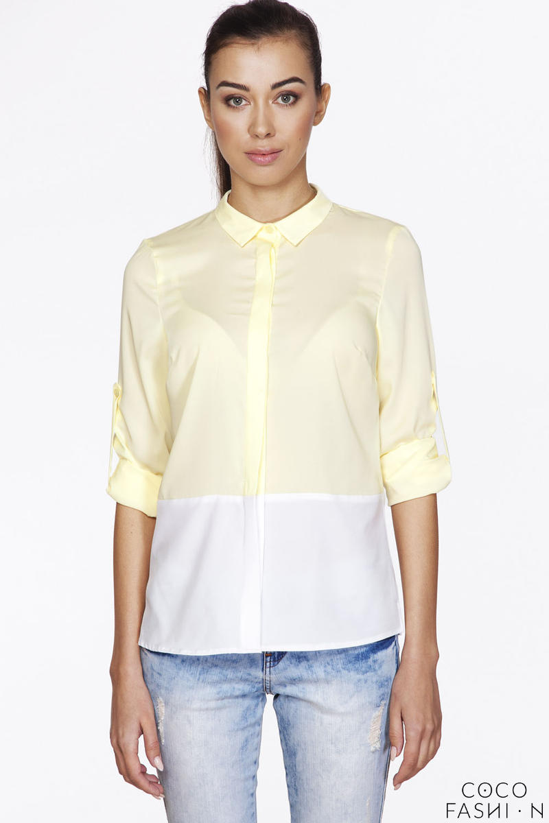 Yellow&White Shirt with Rolled-up Sleeves