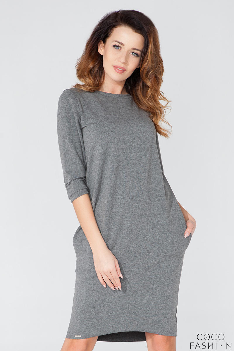 Grey Classic Plain 3/4 Sleeves Knee Length Casual Dress