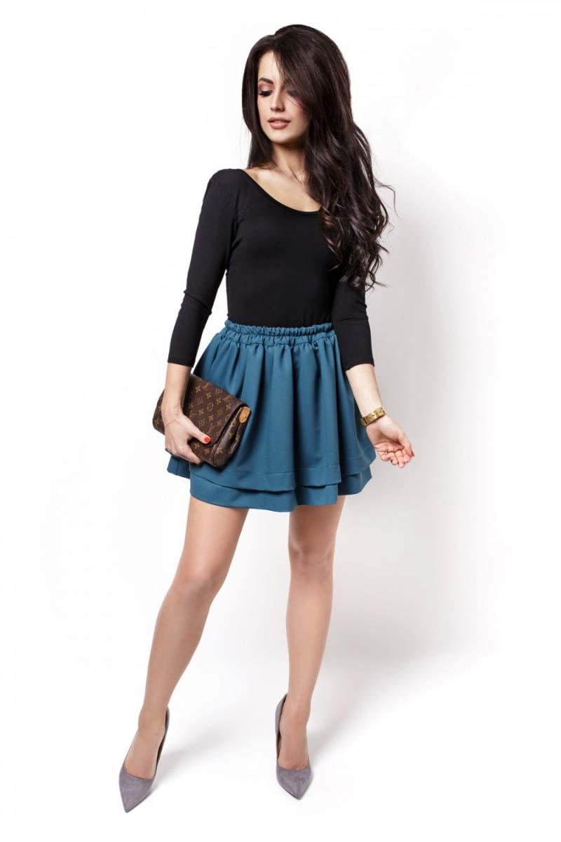 Sea Blue Elastic Waist Firlled Mini Skirt