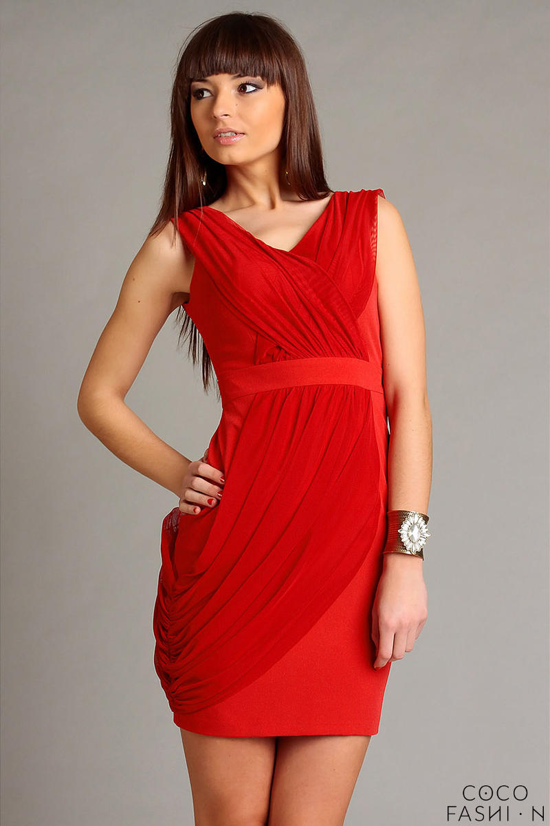 Red Elegant Draped V-Neckline Mini Dress