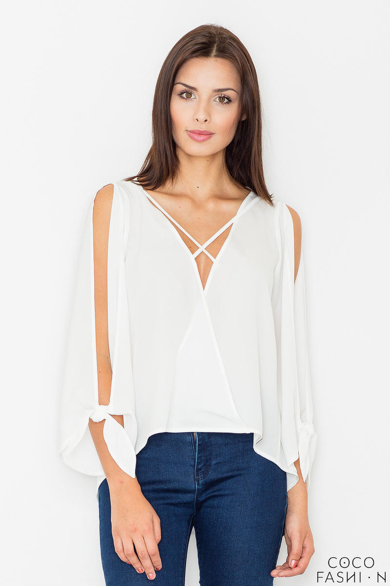 Ecru Cut Out Sleeves Stylish Blouse
