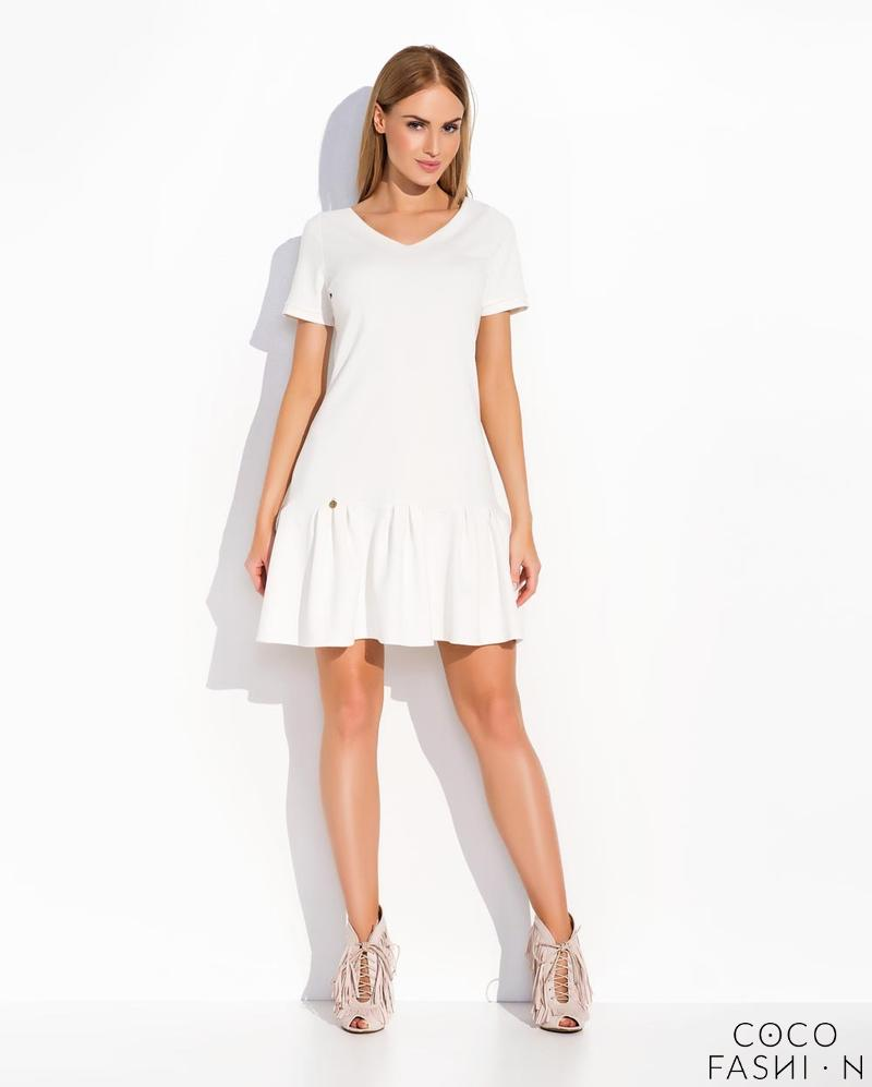 White Casual Style Short Sleeves Dress with Frilled Bottom Part от cocofashion