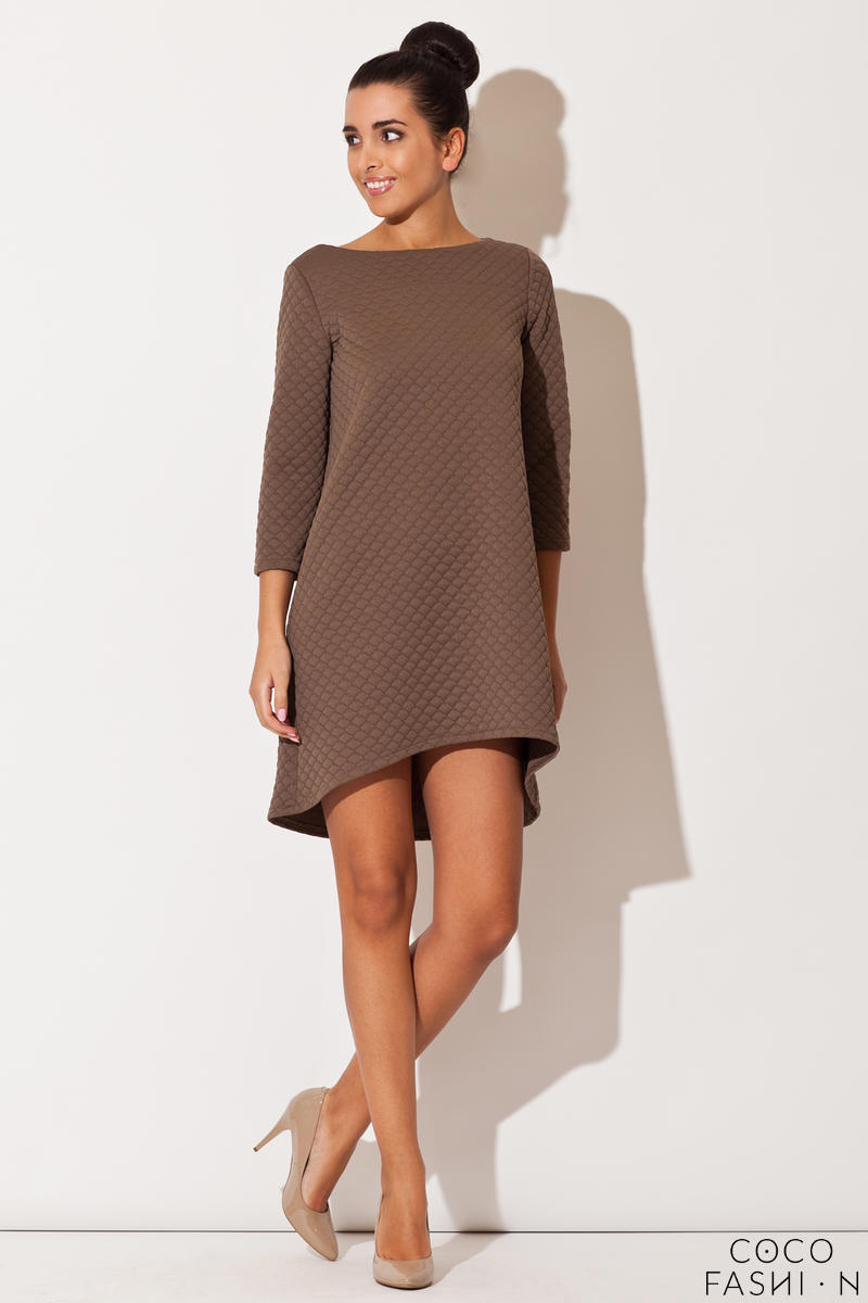 Brown Quilted Winter Fall Loose Dress