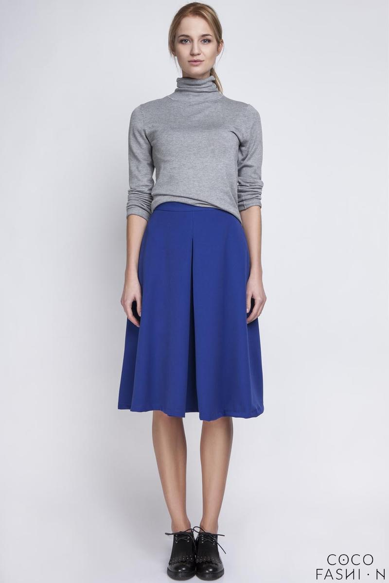 indygo blue retro style midi lenght skirt with fold