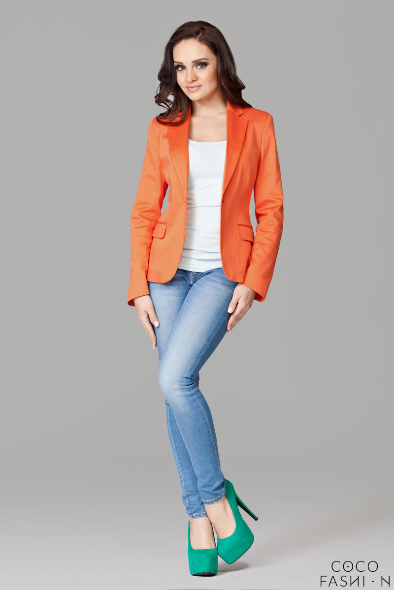 petite-peak-collar-orange-blazer-with-single-button-fastening