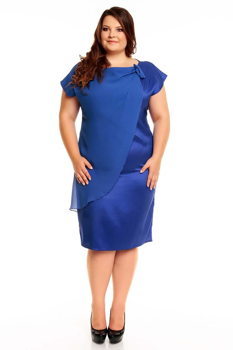 Blue Evening Short Sleeves Dress PLUS SIZE