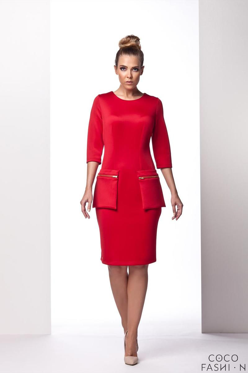 Red Elegant Form Dress with Pockets