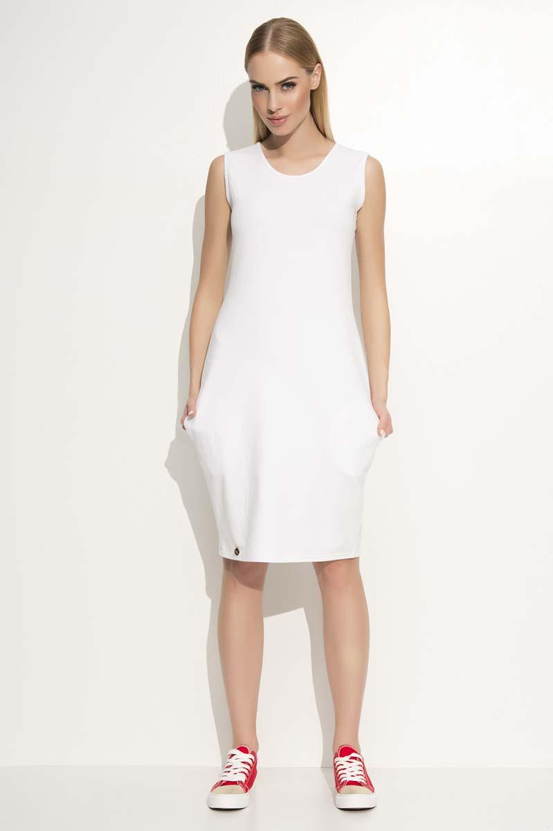 White Casual Sleeveless Dress with Side Pockets