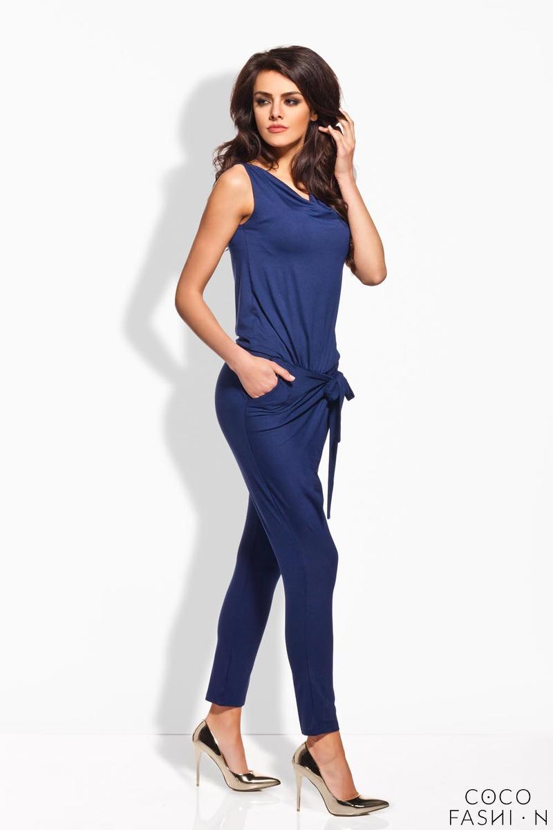 Blue Tapered Legs Self Tie Bow Ladies Jumpsuit