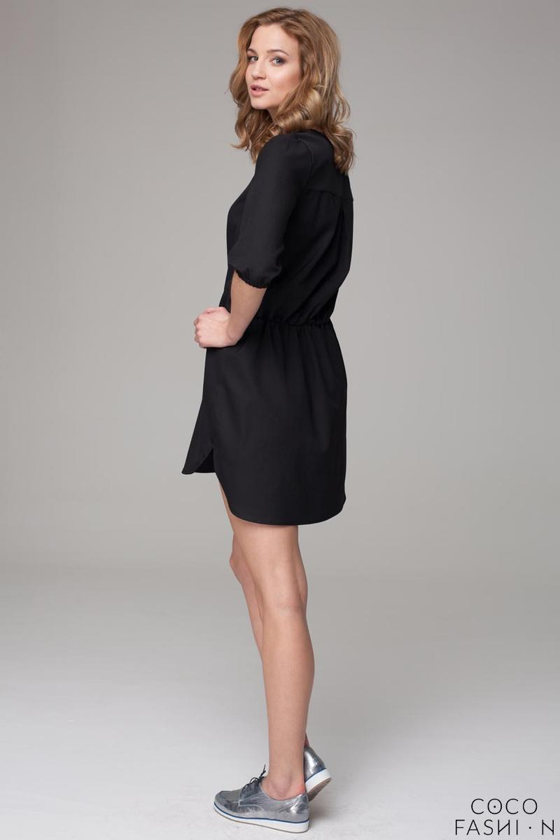 Black 3/4 Sleeves Mini Summer Dress