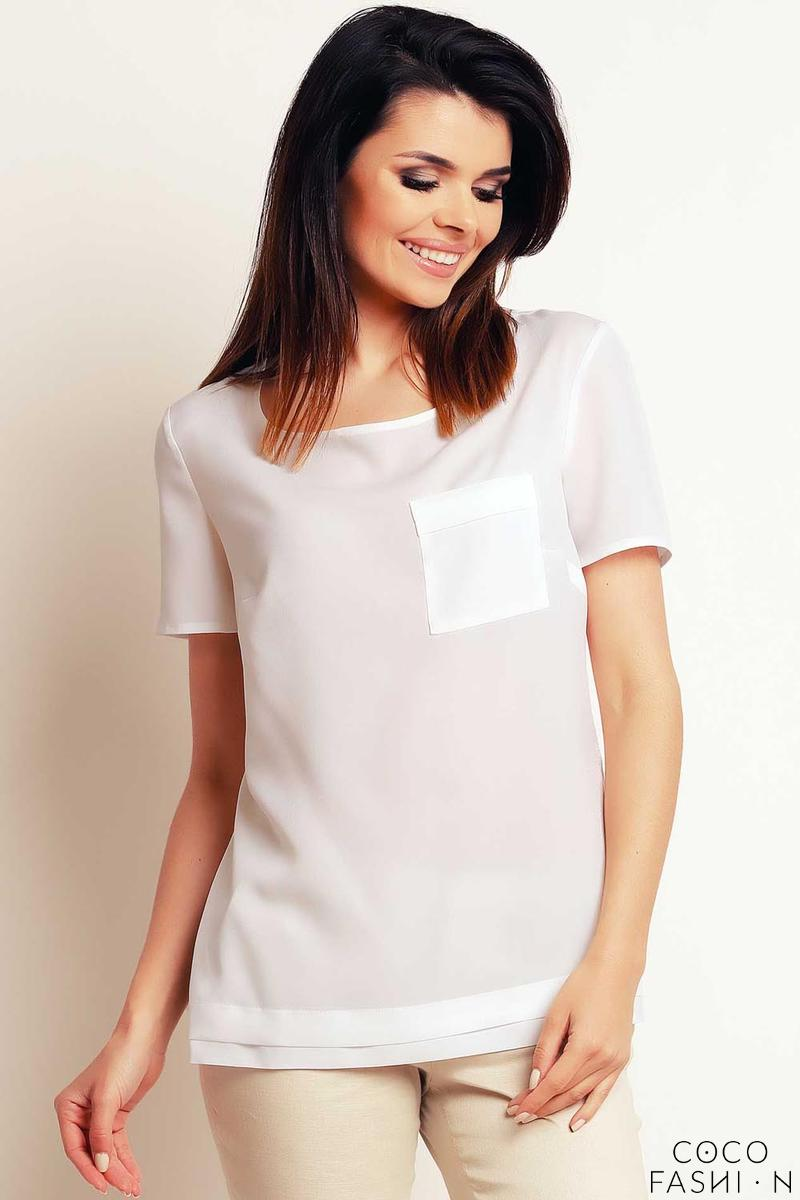 Ecru Simple Short Sleeves Blouse with Pocket