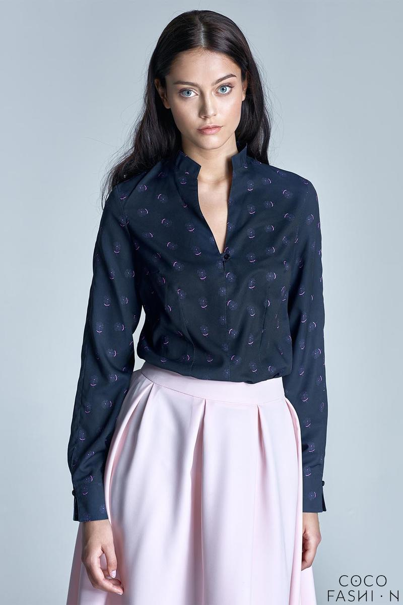 Dark Blue&Pink Stand-up Collar Long Sleeves Shirt