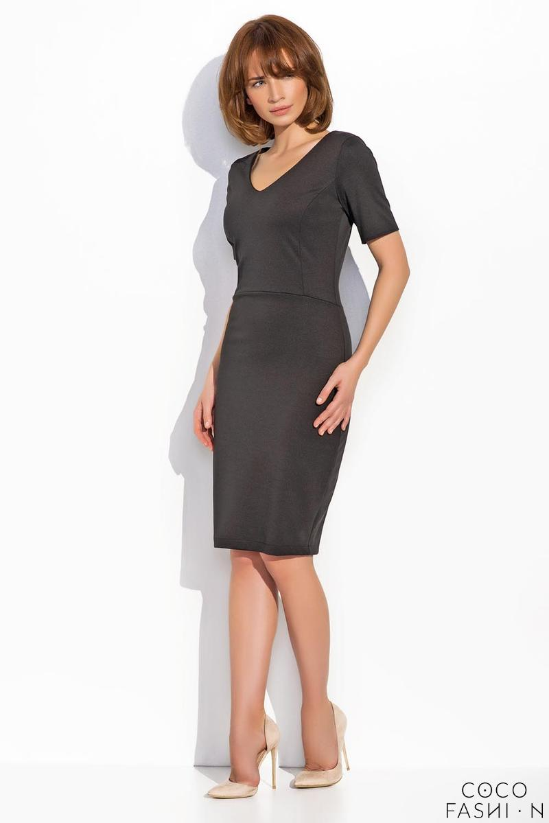 Black Classic Bodycon Fit V-Neckline Dress