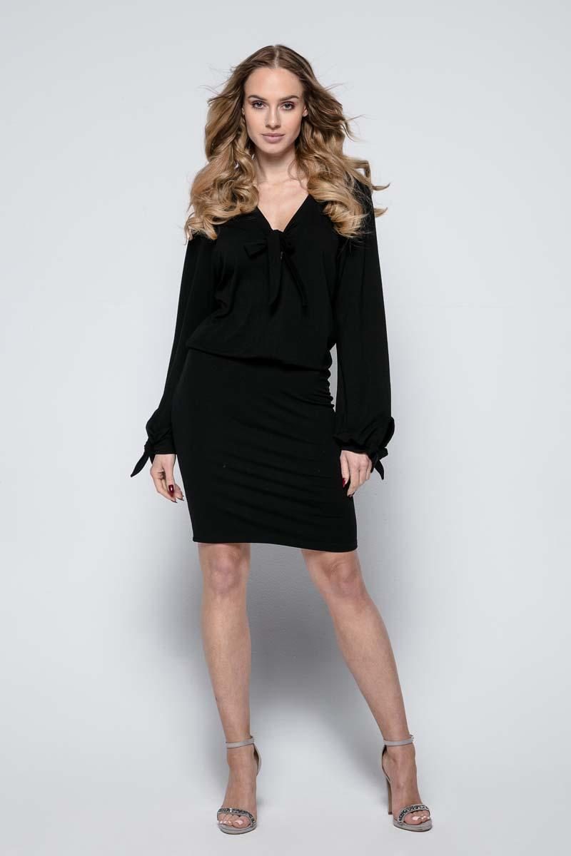 Black Casual Dress with Self Tie Bows