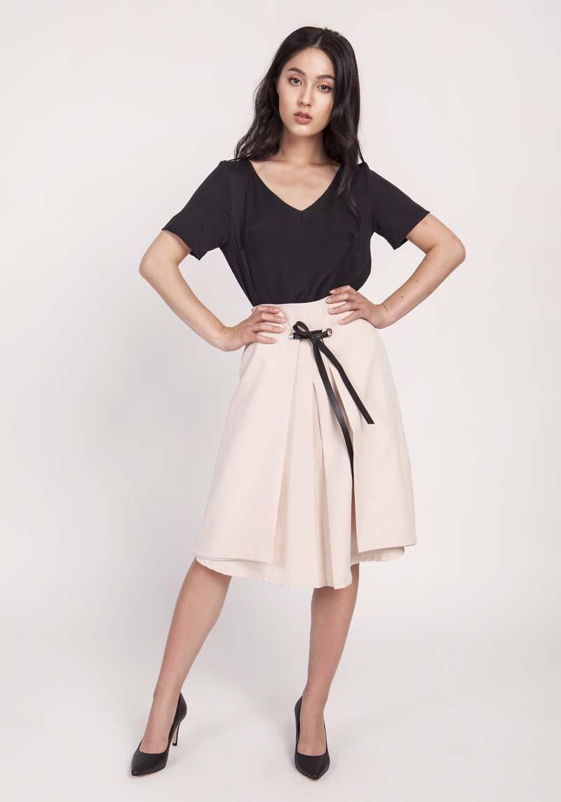 Beige Trapezoid Skirt with Eco-Leather Ribbon